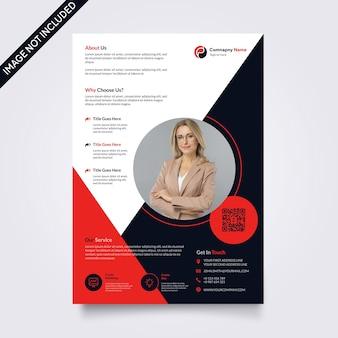 Modelo de folheto corporativo criativo - design vector escuro e vermelho