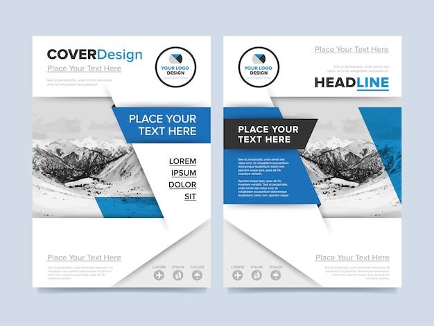 Modelo de folheto corporativo em moderno design azul e branco para negócios e agências