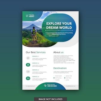 Modelo de folheto criativo agência de viagens