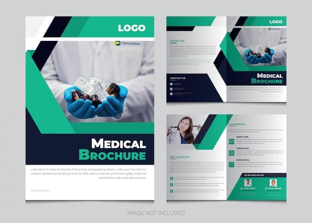 Modelo de folheto criativo bifold médica