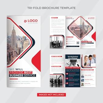 Modelo de folheto criativo de negócios corporativos com três dobras