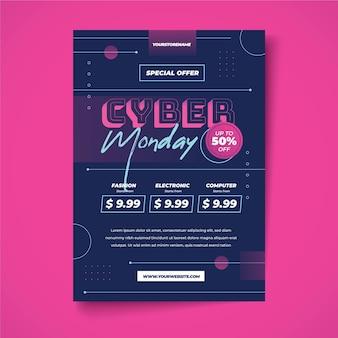 Modelo de folheto criativo de segunda-feira cibernética com desconto especial