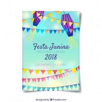 Modelo de folheto criativo festa junina
