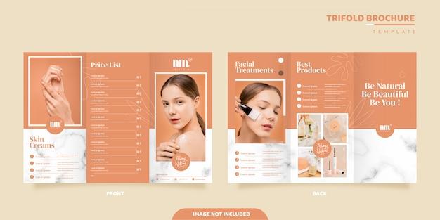 Modelo de folheto - cuidados com a pele com três dobras