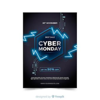 Modelo de folheto - cyber segunda-feira de design plano