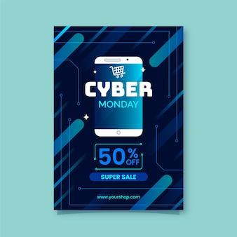 Modelo de folheto cyber segunda-feira em design plano