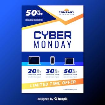 Modelo de folheto cyber segunda-feira plana com dispositivos