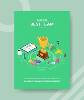 Modelo de folheto da melhor equipe vencedora