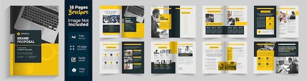 Modelo de folheto de 16 páginas para proposta de marca corporativa com layout amarelo e escuro