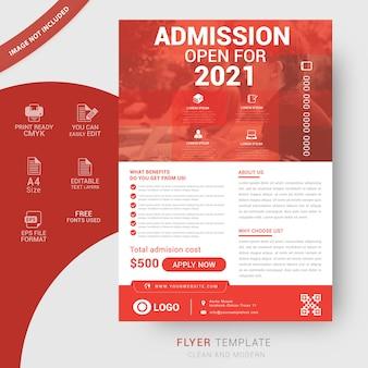 Modelo de folheto de admissão de escola