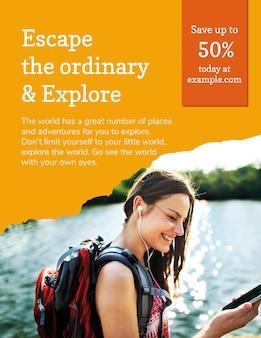 Modelo de folheto de agência de viagens com foto de férias em estilo moderno