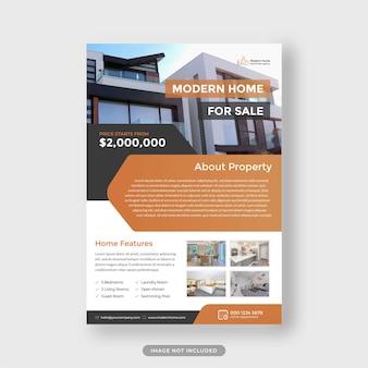 Modelo de folheto de agência imobiliária vetor premium