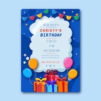 Modelo de folheto de aniversário com ilustrações