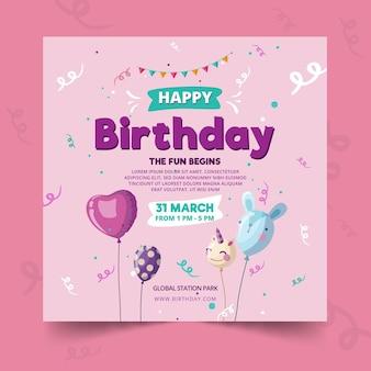 Modelo de folheto de aniversário infantil