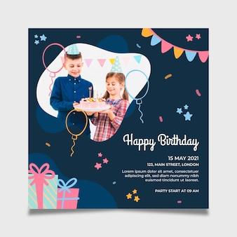 Modelo de folheto de aniversário quadrado