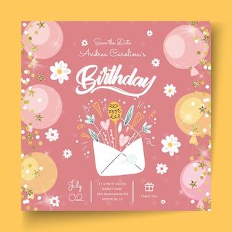 Modelo de folheto de aniversário quadriculado