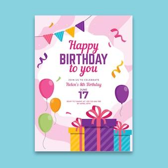 Modelo de folheto de aniversário vertical