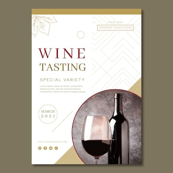 Modelo de folheto de anúncio de degustação de vinhos
