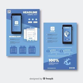 Modelo de folheto de aplicativo para dispositivos móveis