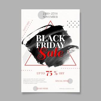 Modelo de folheto de aquarela preta com manchas na sexta-feira