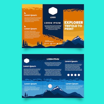 Modelo de folheto de aventura com três dobras