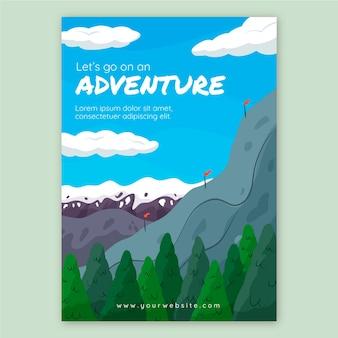 Modelo de folheto de aventura desenhado à mão