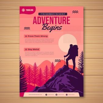 Modelo de folheto de aventura plana
