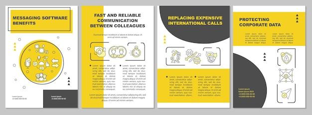 Modelo de folheto de benefícios messeger. comunicação remota. folheto, folheto, impressão de folheto, design da capa com ícones lineares. layouts de vetor para apresentação, relatórios anuais, páginas de anúncios