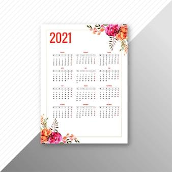 Modelo de folheto de calendário 2021 para design floral