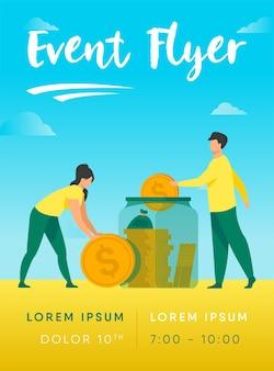 Modelo de folheto de casal familiar economizando dinheiro