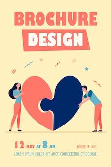 Modelo de folheto de casal feliz conectando coração