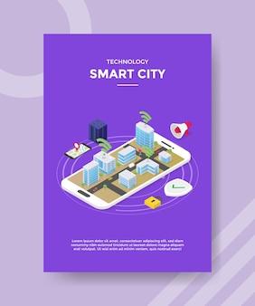 Modelo de folheto de cidade inteligente de tecnologia