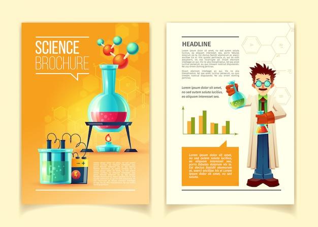 Modelo de folheto de ciência, frente e verso, folheto educacional