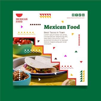 Modelo de folheto de comida mexicana quadrada
