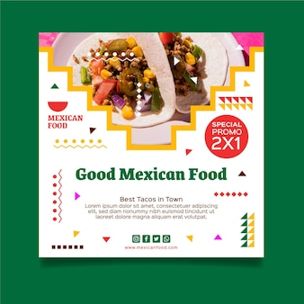 Modelo de folheto de comida mexicana quadrada Vetor grátis