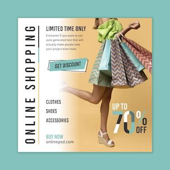 Modelo de folheto de compras online com foto