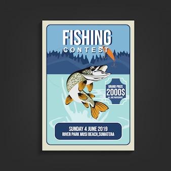 Modelo de folheto de concurso de pesca