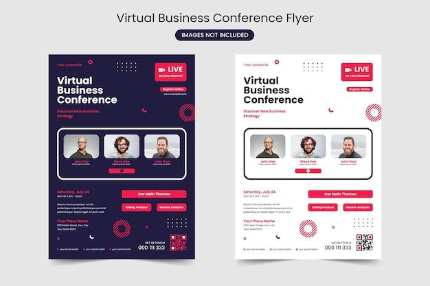 Modelo de folheto de conferência de negócios virtuais