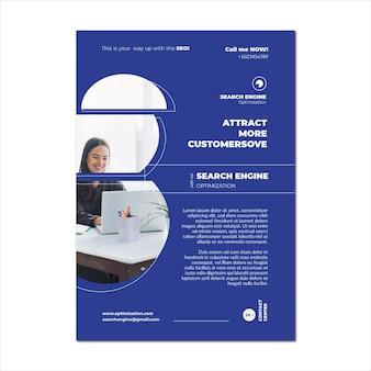 Modelo de folheto de conteúdo virtual de seo