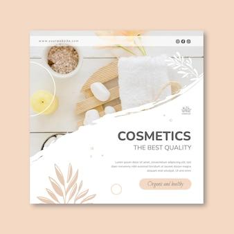 Modelo de folheto de cosmético ao quadrado