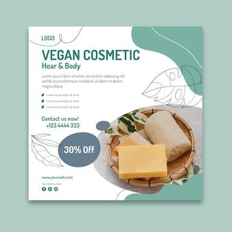 Modelo de folheto de cosméticos veganos quadrados