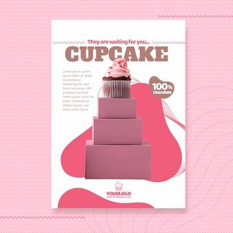 Modelo de folheto de cupcake delicioso