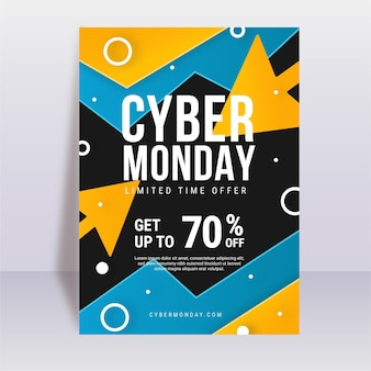 Modelo de folheto de cyber monday em design plano