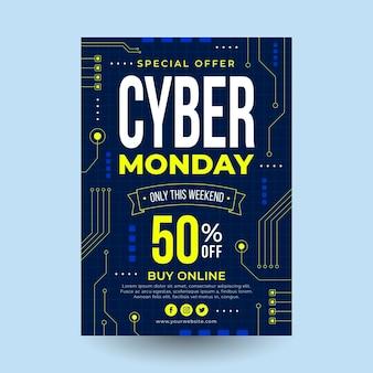 Modelo de folheto de cyber monday em design plano Vetor Premium