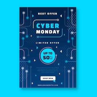 Modelo de folheto de cyber segunda-feira de design plano