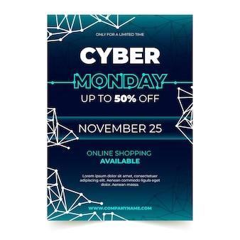 Modelo de folheto de cyber segunda-feira em design plano