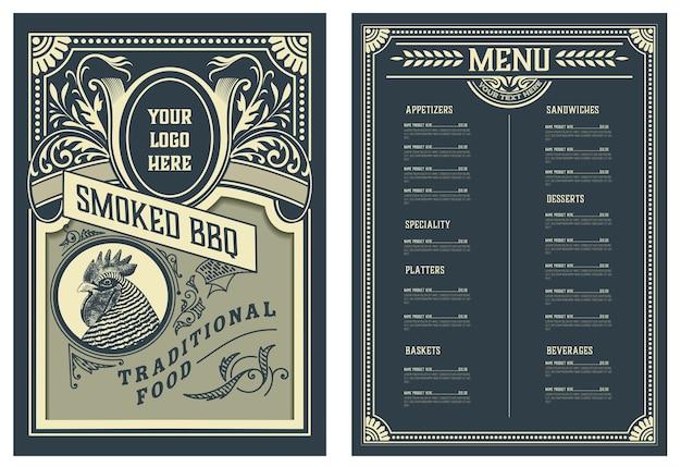 Modelo de folheto de design de menu de restaurante. silhueta de cabeça de frango. estilo antigo.