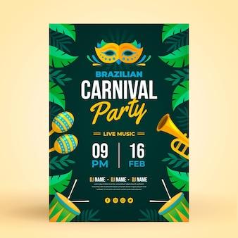 Modelo de folheto de design plano carnaval brasileiro