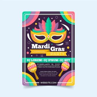 Modelo de folheto de design plano mardi gras com máscara e maracas