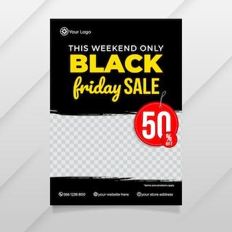Modelo de folheto de design plano minimalista black friday